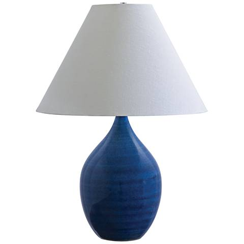 "Scatchard Stoneware 28"" High Glossy Blue Table Lamp"