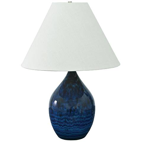 "Scatchard Stoneware 28"" High Midnight Blue Table Lamp"