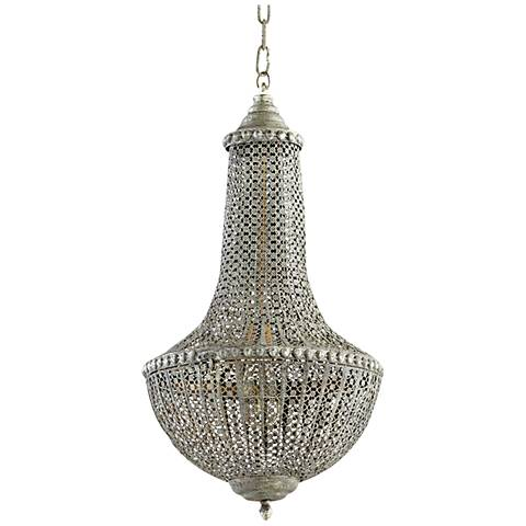 "Tangier 18 1/4""W Chainmail Antique Silver Pendant Light"