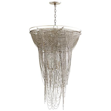 """Ithaca 26""""W Hanging Moss Aged Silver Iron Pendant Light"""