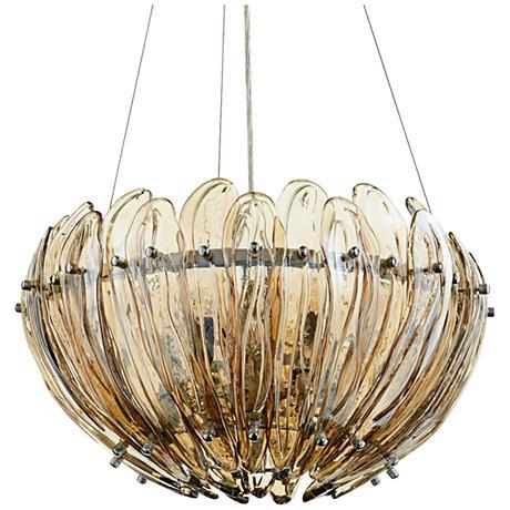"Aerie 19"" Wide Small Lotus Cognac Glass Pendant Light"