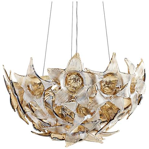 "Moon Lillie 18 1/2""W Floral Star Glass Bowl Pendant Light"