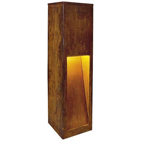 "Rusty Slot 19 3/4"" High Rusted Iron Bollard Landscape Light"