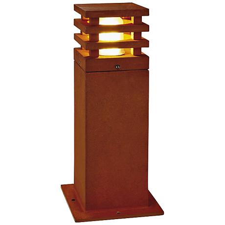 """Rusty Square 15 3/4"""" High Rusted Iron Landscape Light"""