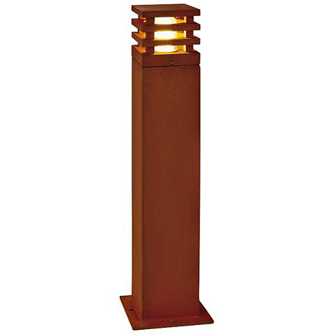 "Rusty Square 28"" High Rusted Iron Bollard Landscape Light"