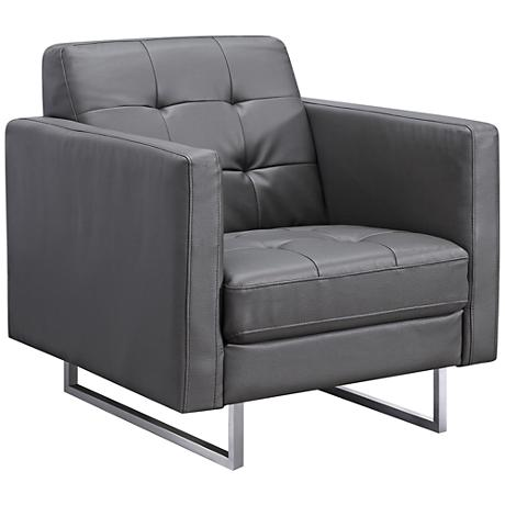 Giovanni Gray Faux Leather Upholstered Armchair