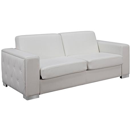 Alfa White Faux Leather Upholstered Sofa Bed