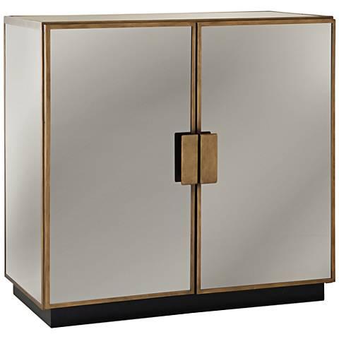 Garvey Antique Brass and Mirror 2-Door Bar Cabinet