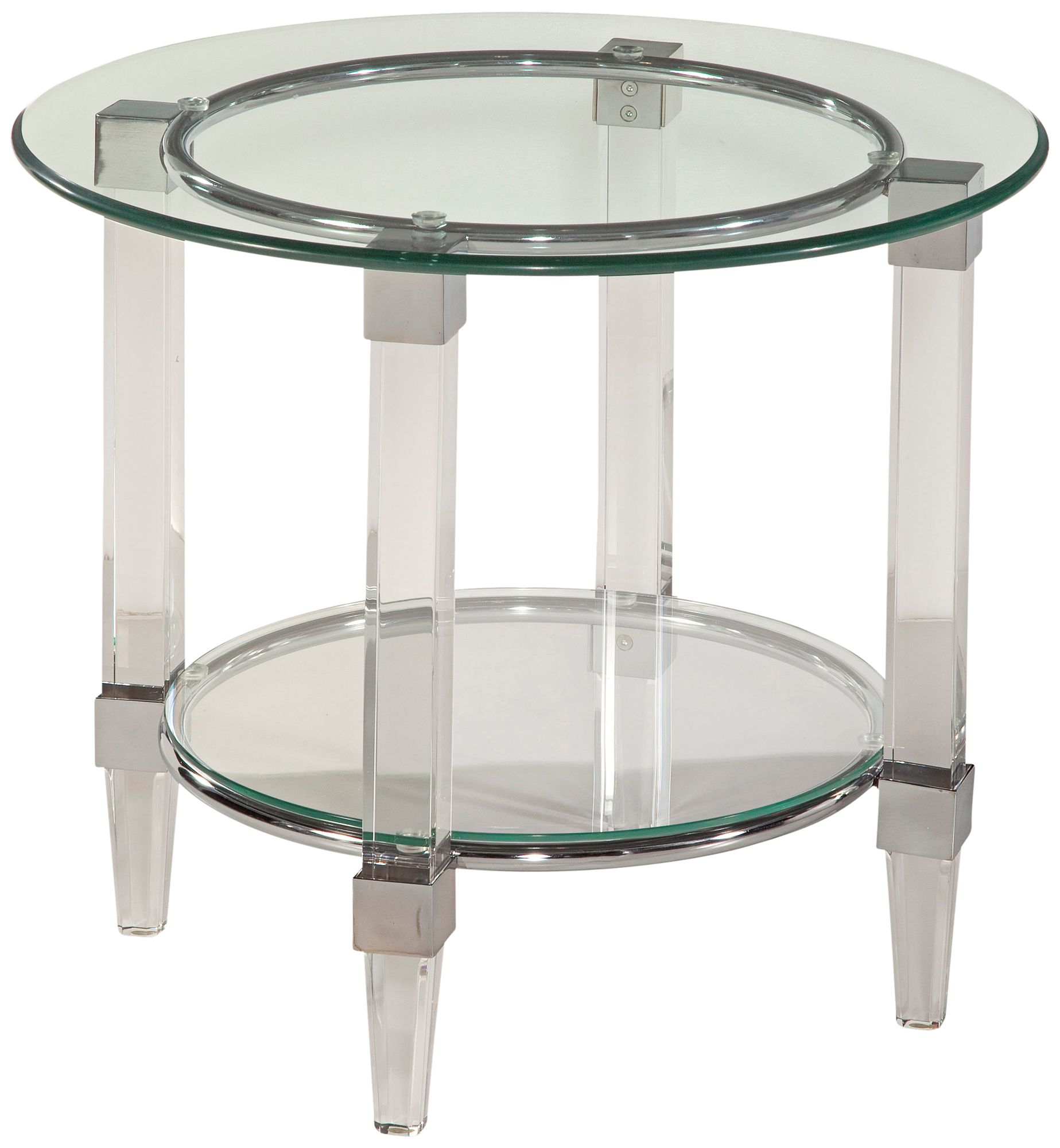 Cristal Chrome And Acrylic Round End Table