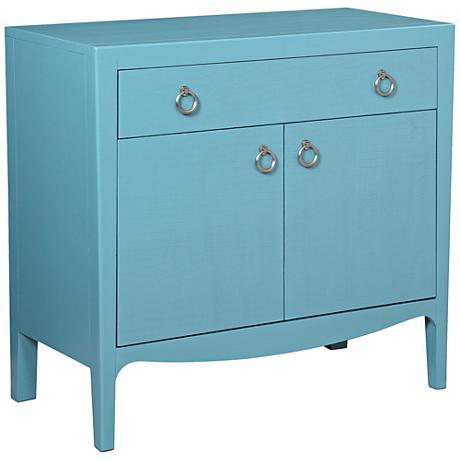 Kristin Tiffany Blue Hardwood 1-Drawer Bar Cabinet