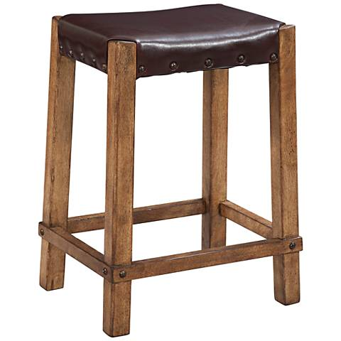 "Homestead 25"" Bonded Leather Oak Wood Counter Stool"