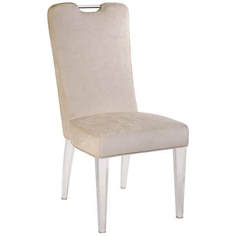 Ferrare Clear Legs Linen Upholstered Side Chair