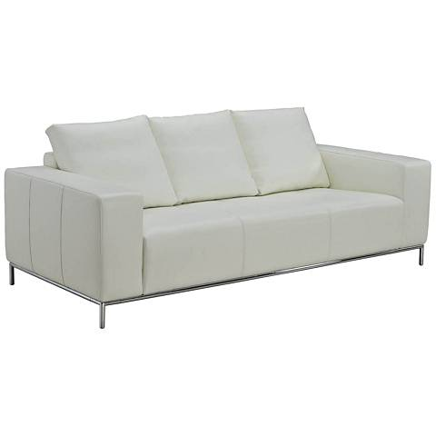 """Linea White Leather 85"""" Wide Upholstered Sofa"""