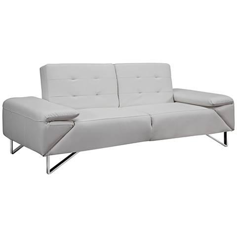 London White Faux Leatherette Upholstered Sleeper Sofa
