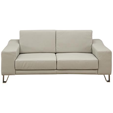"Martini 32"" Gray Leather Upholstered Sofa"