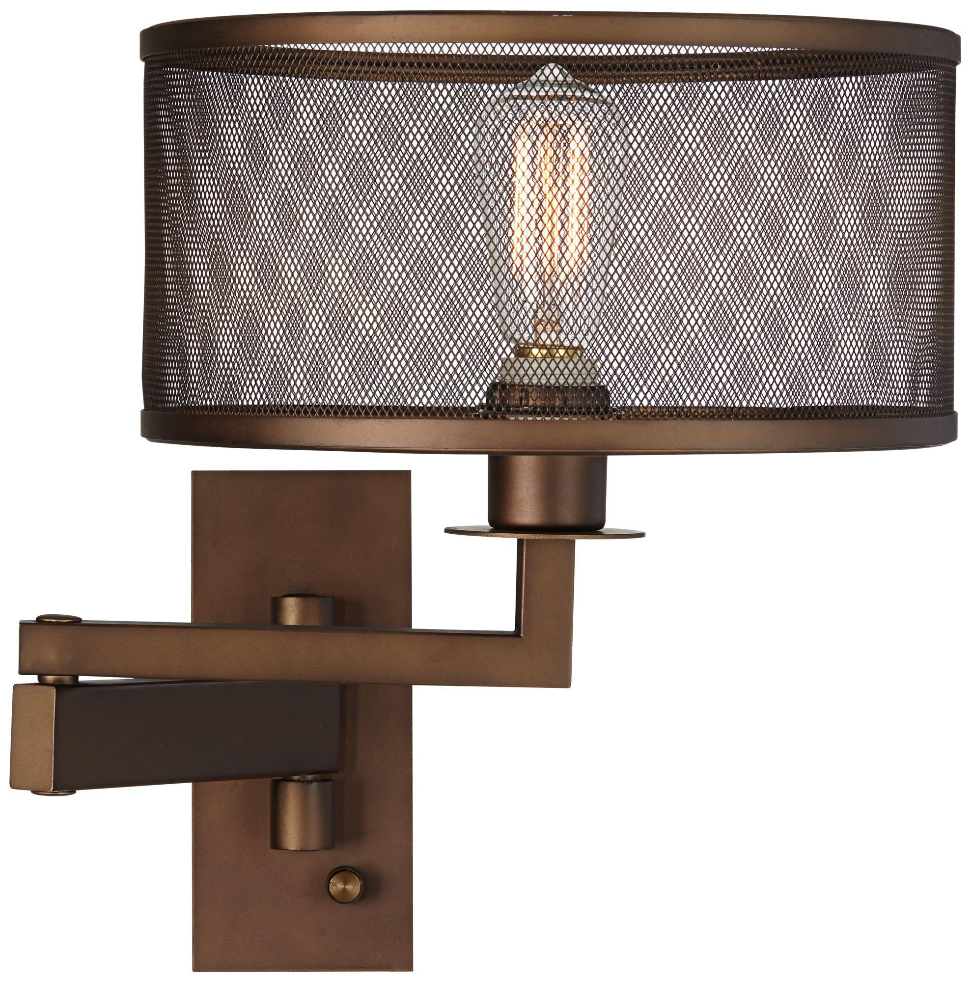 svende oil rubbed bronze plugin swing arm wall lamp