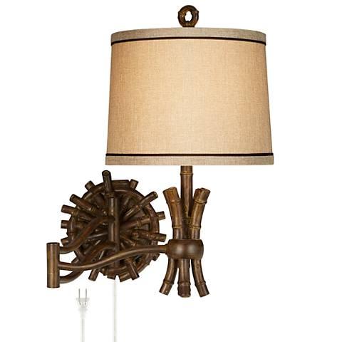 "Elegant Bamboo 11"" Wide Swing Arm Wall Lamp - Dark Finish"