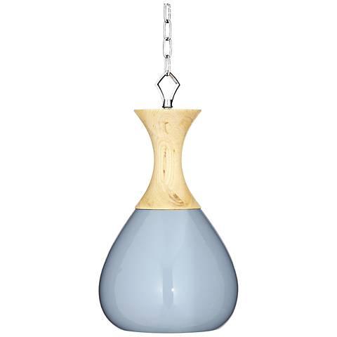"Sea Breeze Blue Ceramic and Wood 10"" Wide Swag Pendant Light"