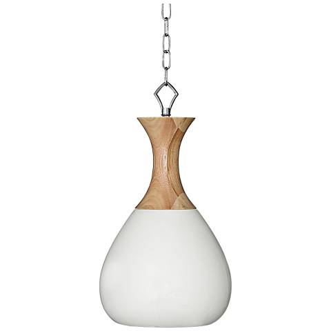 "Milk White Ceramic and Wood 10"" Wide Swag Pendant Light"