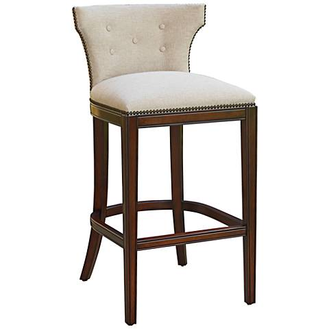 "Marisol 26 1/4"" Erin Cream Fabric Espresso Counter Stool"
