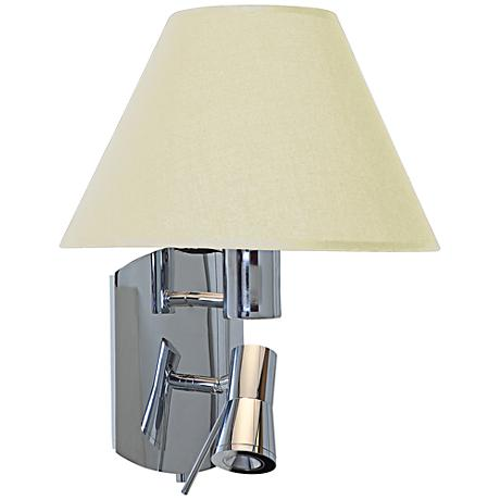 """Cyprus Bullet Chrome 14 3/4""""H LED Sconce with Cream Shade"""