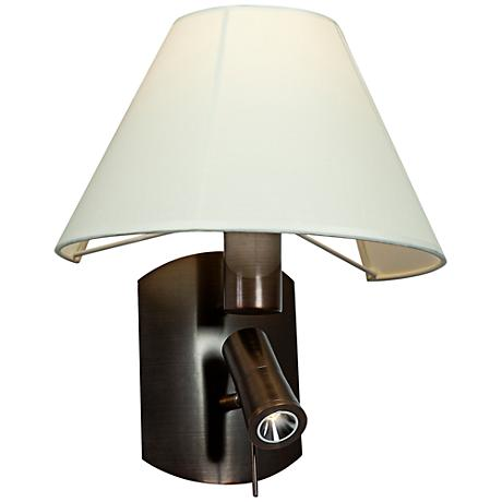 """Cyprus Bullet Bronze 14 3/4""""H LED Sconce with Cream Shade"""