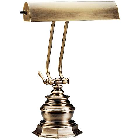 "House of Troy Octagon 14""H Antique Brass Piano Desk Lamp"