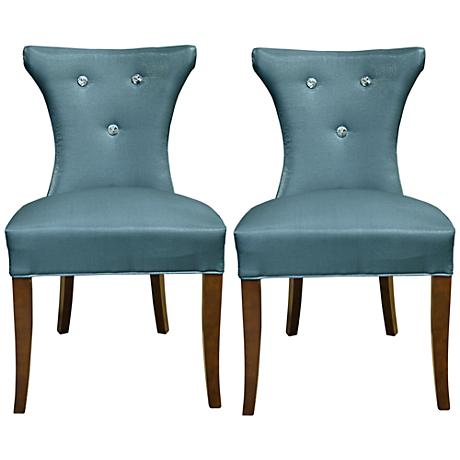 Cosmo Diamond Tufted Blue Faux Silk Side Chair Set of 2