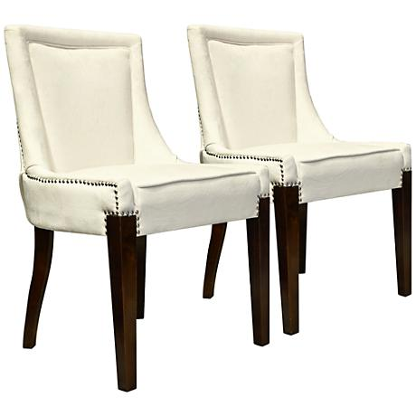Giselle Castalina Cream Velvet Accent Chair Set of 2