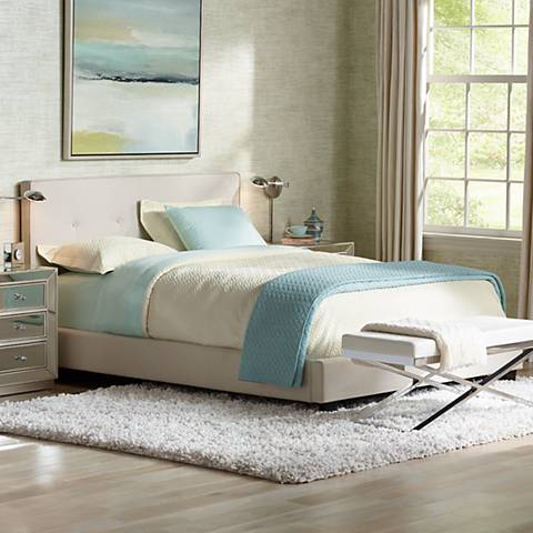 Corona Mid-Century Beige Fabric Upholstered Queen Bed