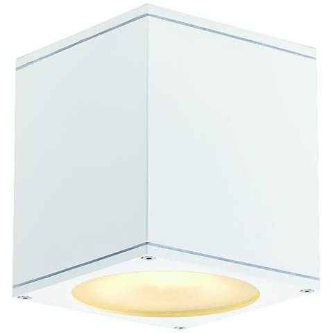 "Big Theo 6"" High White Cube Outdoor Ceiling Light"