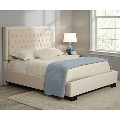 Laguna Hand-Tufted Beige Velvet Upholstered Queen Bed