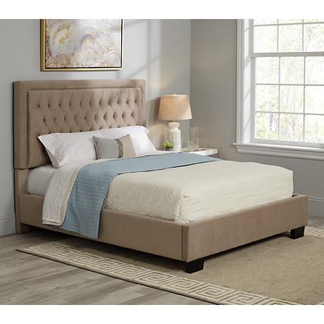 Laguna Hand-Tufted Graphite Velvet Upholstered Queen Bed