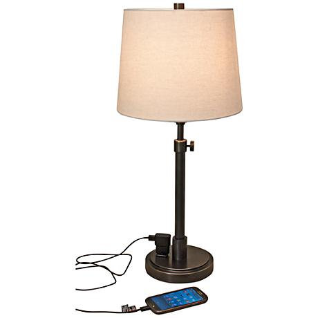 of troy townhouse bronze desk lamp with outlet 8y610 lamps plus. Black Bedroom Furniture Sets. Home Design Ideas