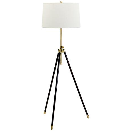 House of Troy Adjustable Antique Brass Tripod Floor Lamp