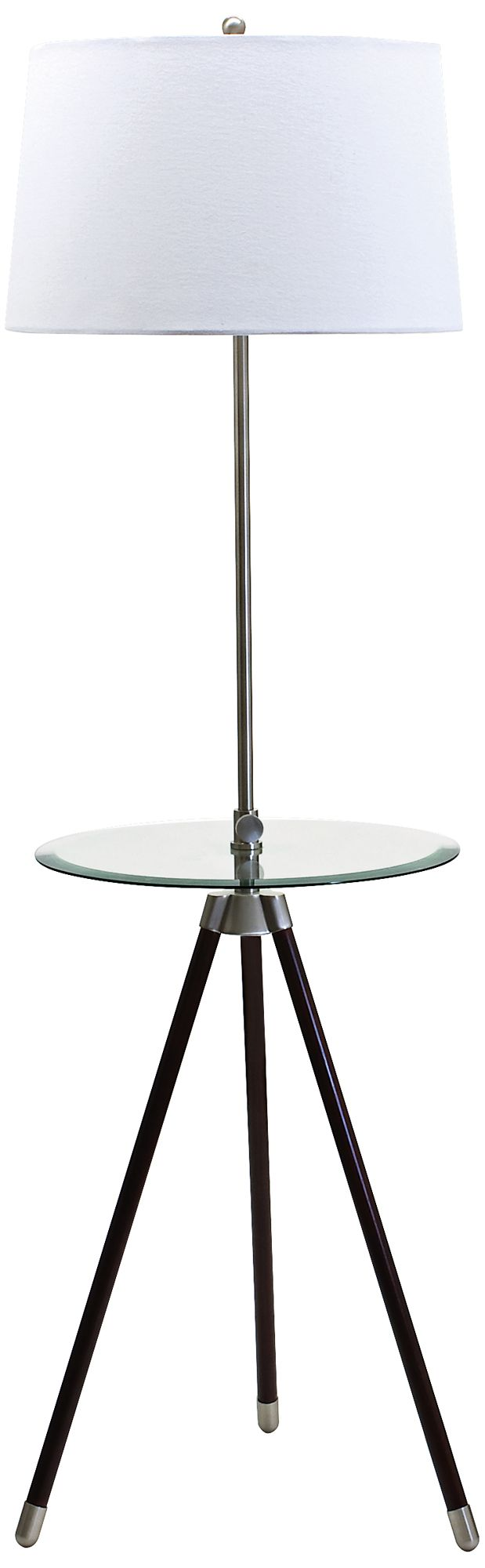 house of troy satin nickel tripod floor lamp with table