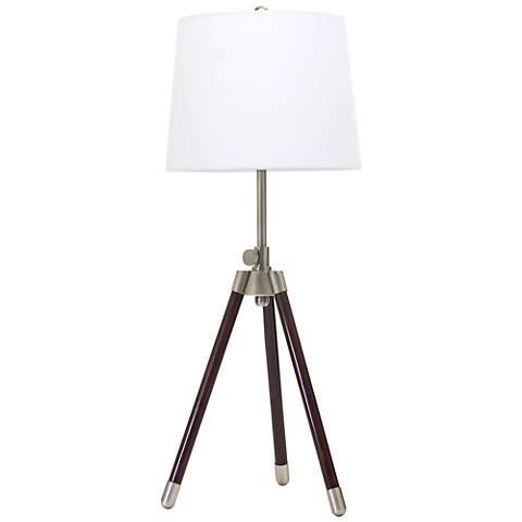 House of Troy Adjustable Satin Nickel Tripod Table Lamp