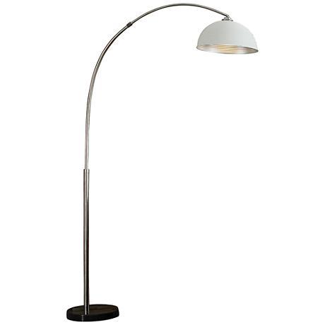 Murrillo Matte White Adjustable Sand Chrome Arc Floor Lamp