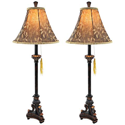 Eleanor Black and Cooper Brown Buffet Table Lamp Set of 2