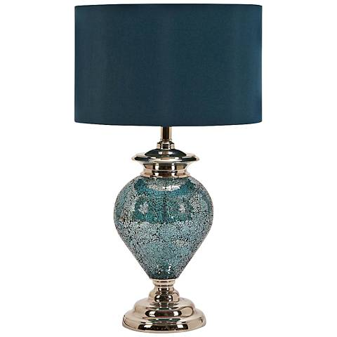 Madie Blue and Silver Glass Mosaic Table Lamp