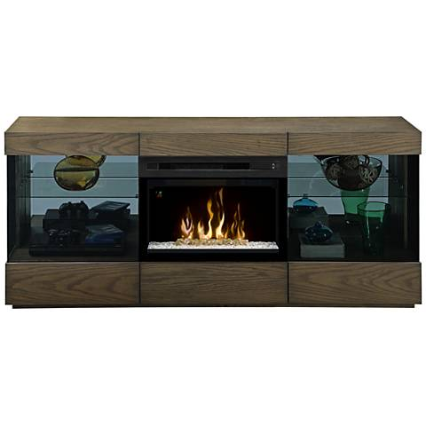 Axel Raked Sand Woodgrain Media Console Electric Firebox