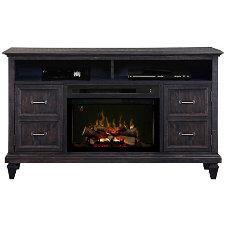 Solomon Weathered Gray Media Console Electric Firebox