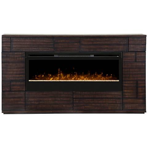 Markus Boston Brown Textured Mantel Electric Fireplace