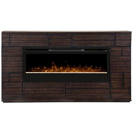 Markus Boston Brown Textured Mantel Electric Fireplace