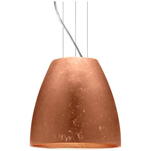 "Bella 14 1/4""W Copper Foil Satin Nickel LED Pendant Light"