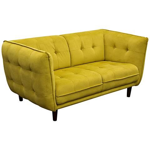 """Venice Retro 83"""" Wide Yellow-Gold Plush Button-Tufted Sofa"""