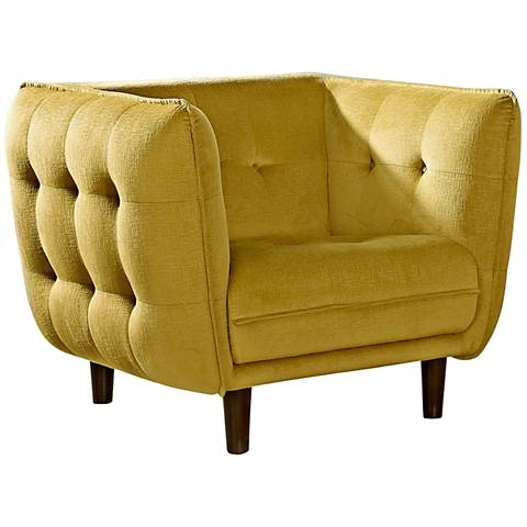 Venice Retro Yellow-Gold Plush Button-Tufted Armchair