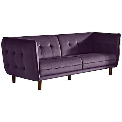 "Venice Retro Deep 83"" Wide Purple Plush Button-Tufted Sofa"