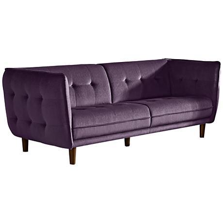Venice Retro Deep Purple Plush Button-Tufted Sofa