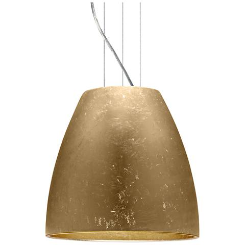 "Bella 16 1/2""W Gold Foil Satin Nickel LED Pendant Light"